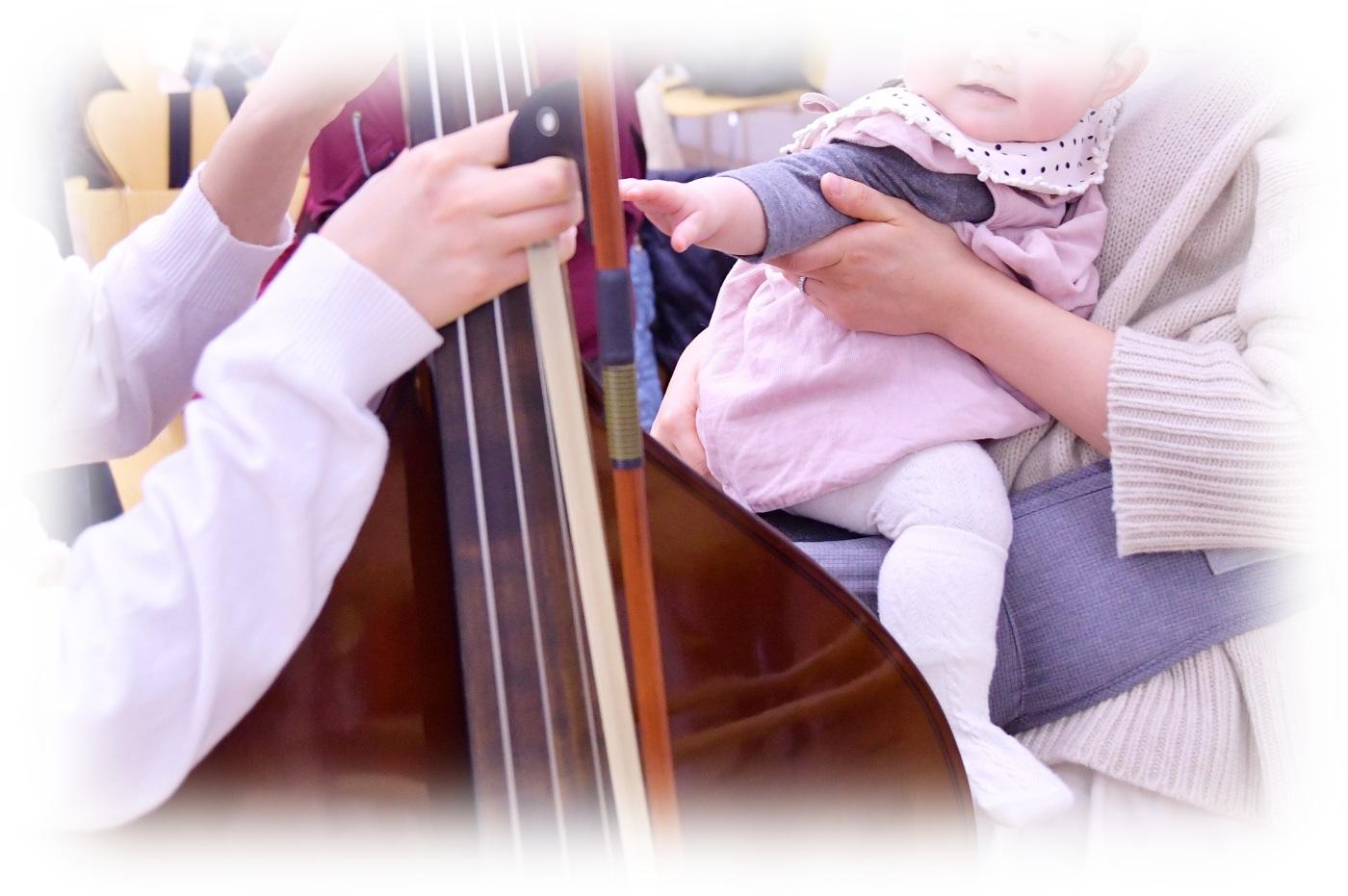 乳児さんも楽器体験
