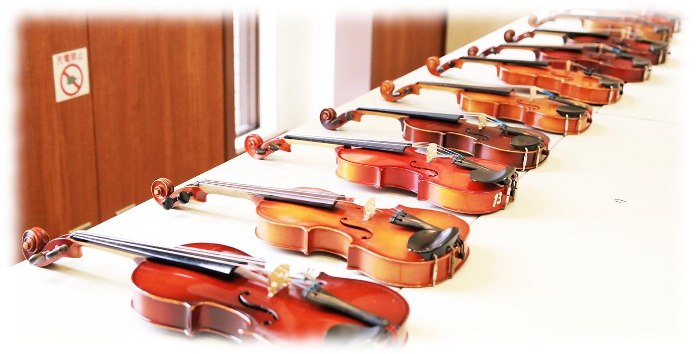 体験用のバイオリンがたくさん♪